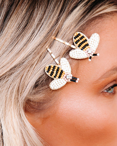 Bee Happy Beaded Hair Pins