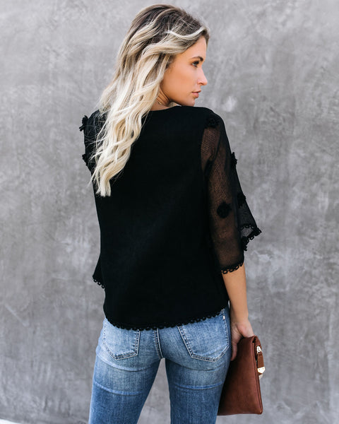 Before The Night Is Over Contrast Knit Top -Black - FINAL SALE