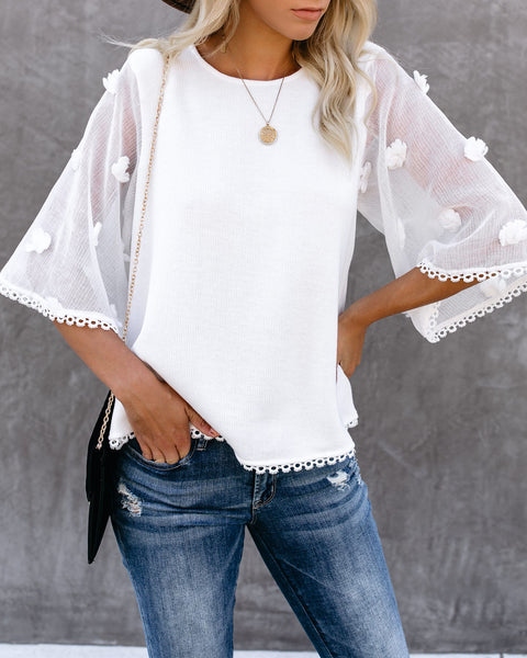 Before The Night Is Over Contrast Knit Top - White - FINAL SALE