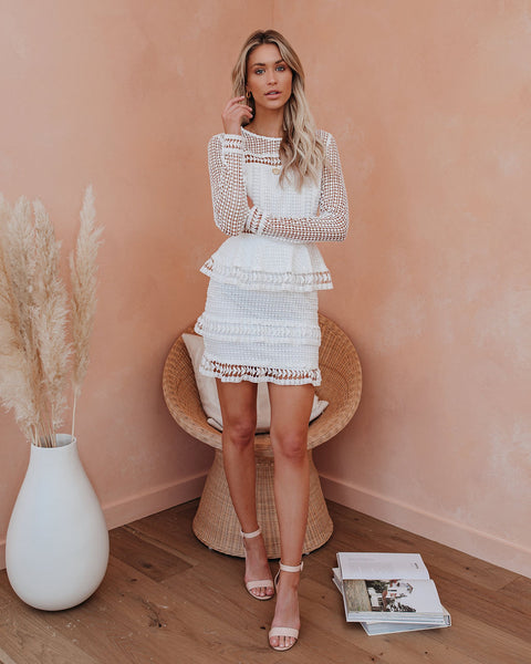 Begin Again Tiered Crochet Lace Dress