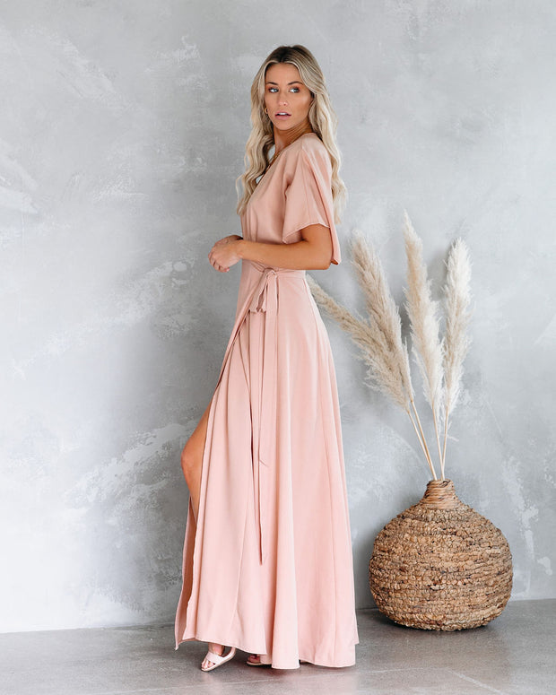 Behati Wrap Kimono Maxi Dress - Blush