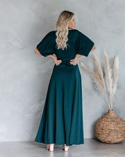 Behati Wrap Kimono Maxi Dress - Dark Teal