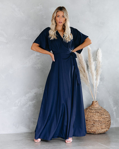 Behati Wrap Kimono Maxi Dress - Navy