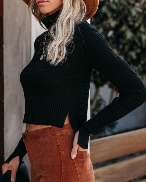 Behind The Scenes Cropped Turtleneck Knit Top