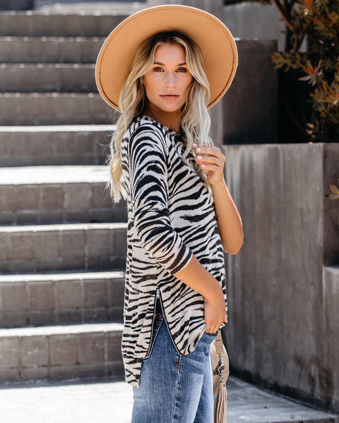 Deidra Zebra Print Zip Knit Sweater