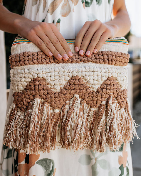 Belize Fringe Clutch - Blush/Vanilla