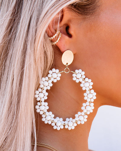 Bellflower Beaded Drop Hoop Earrings - White