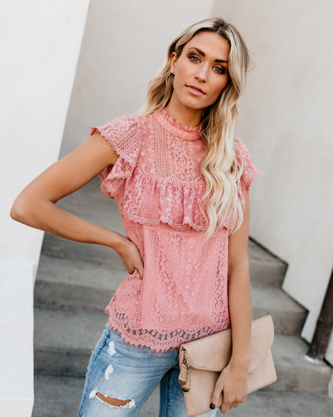 Be Mine Lace Top - Mauve