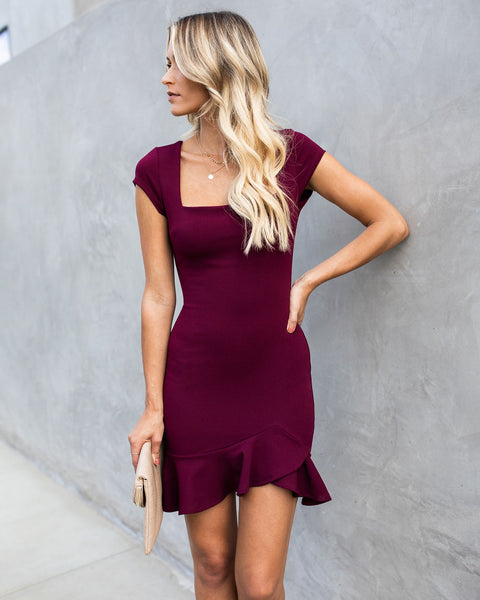 Be My Guest Bodycon Dress - Burgundy - FLASH SALE