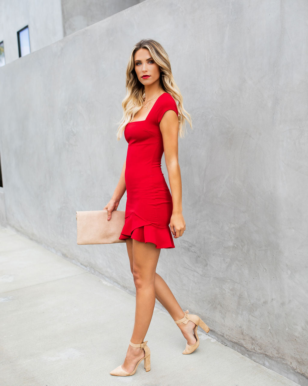 Be My Guest Bodycon Dress Red Vici