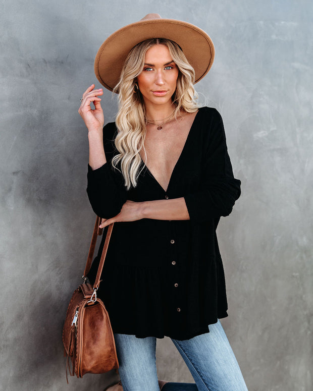 Be Playful Button Down Knit Peplum Top - Black