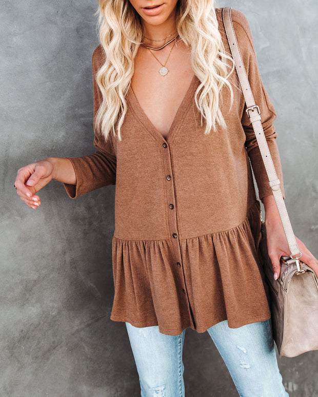 Be Playful Button Down Knit Peplum Top - Camel