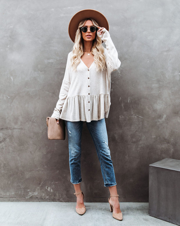 Be Playful Button Down Knit Peplum Top - Oatmeal