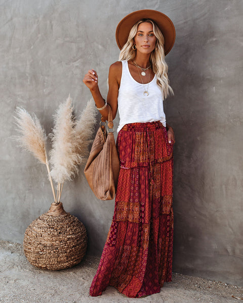 Berryessa Pocketed Tiered Paisley Print Maxi Skirt