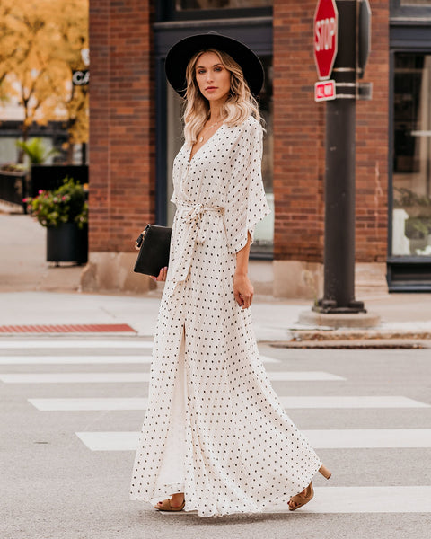 Beside You Polka Dot Kimono Maxi Dress