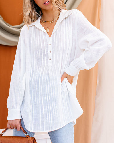 Bessie Cotton Pocketed Pintuck Button Down Top