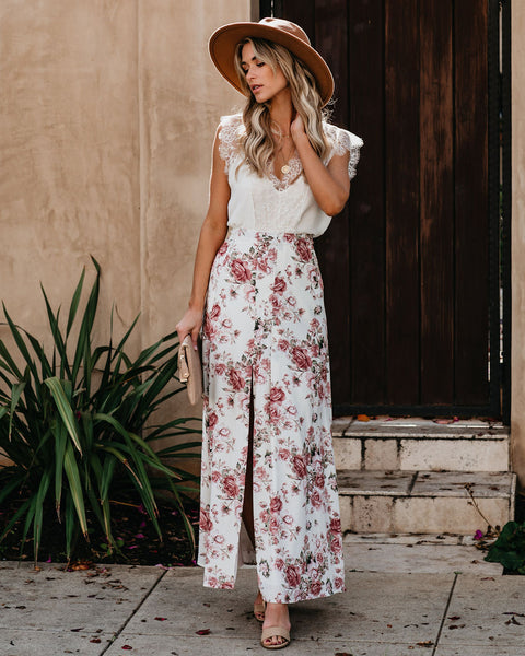 Best Buds Floral Slit Maxi Skirt - FINAL SALE