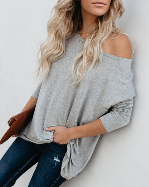 Best Day Ever Bamboo Long Sleeve Top - Heather Grey