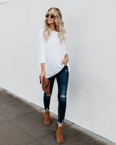 Best Day Ever Bamboo Long Sleeve Top - White - FINAL SALE