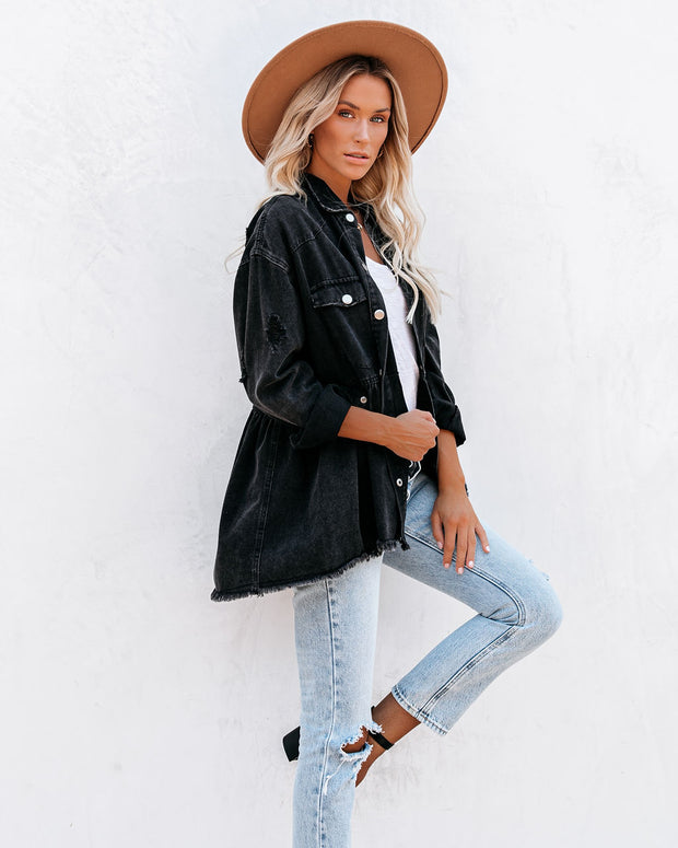 Best Distressed Denim Button Down Shirt Jacket