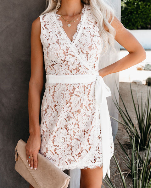 Best Dressed Lace Wrap Dress - White