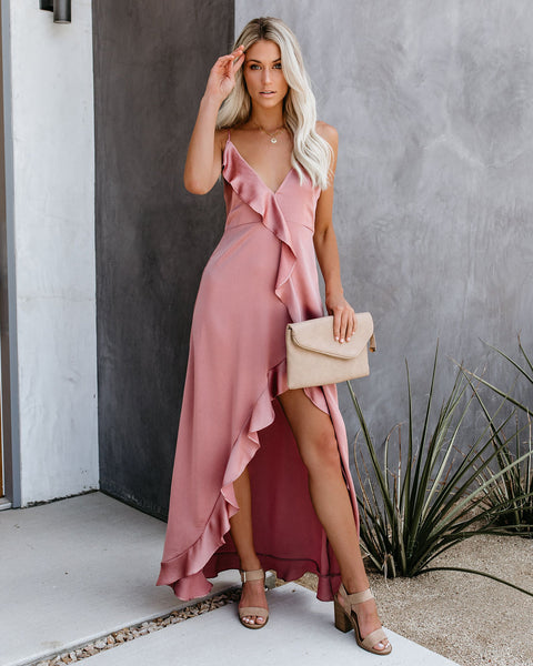 Best Guest Satin Ruffle Maxi Dress - Mauve