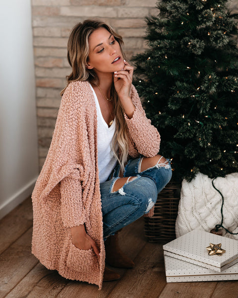 Best In Snow Pocketed Dolman Cardigan - Mauve