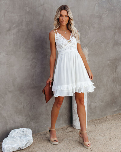 Best Of My Love Pocketed Lace Ruffle Dress - White