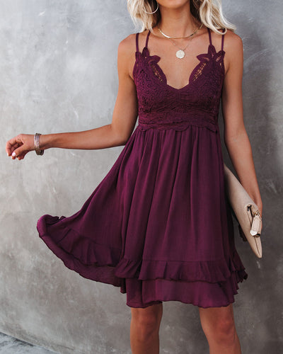 Best Of My Love Pocketed Lace Ruffle Dress - Plum