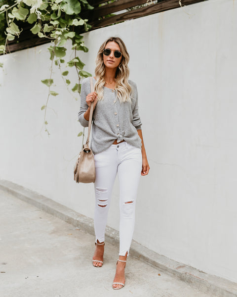 Best Wishes Button Down Sweater - Grey