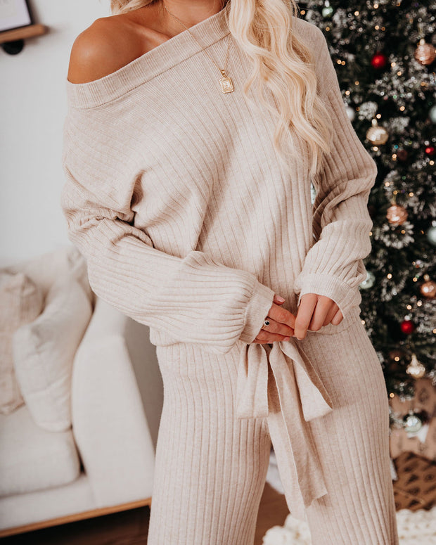 Be Thankful Ribbed Knit Sweater Top