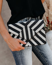 Betsey Handmade Beaded Crossbody Clutch - Black/White