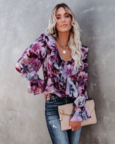 Better Days Floral Ruffle Blouse