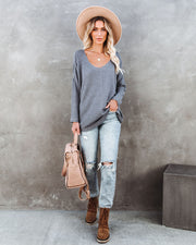 Between Us Thermal Knit Top - Charcoal - FINAL SALE view 8