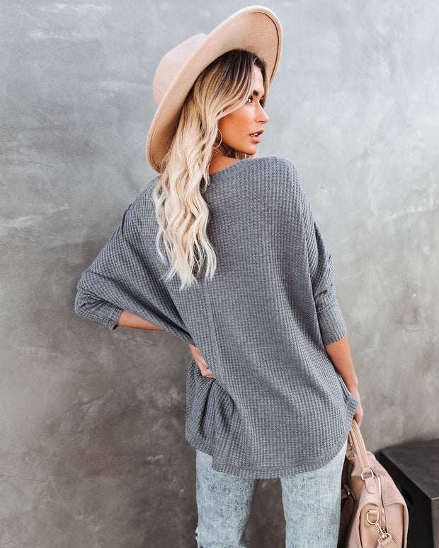 Between Us Thermal Knit Top - Charcoal - FINAL SALE view 2