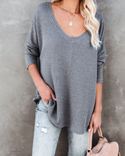 Between Us Thermal Knit Top - Charcoal - FINAL SALE view 5