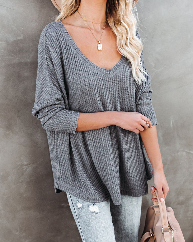 Between Us Thermal Knit Top - Charcoal - FINAL SALE view 3
