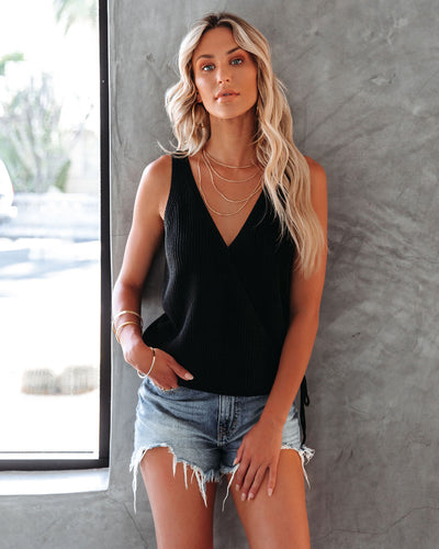 Bevan Surplice Knit Tank - Black