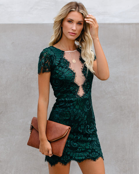 Beyond Words Lace Dress - Green