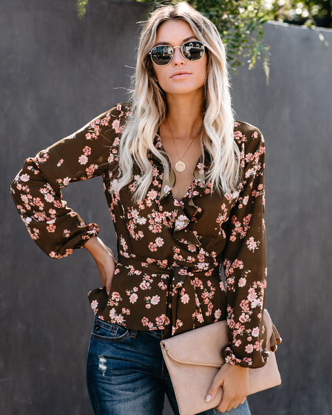 Be Yourself Floral Ruffle Blouse  - FINAL SALE