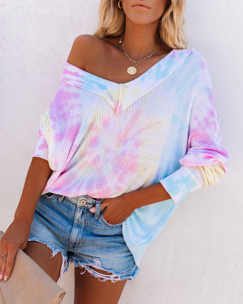 BFF Cotton Tie Dye Thermal Knit Top