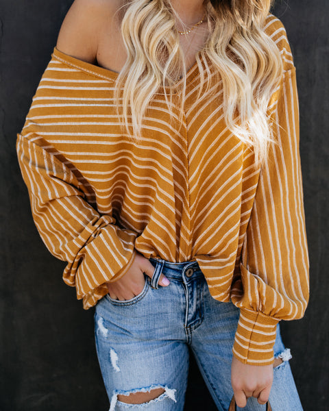 Big Picture Cotton Striped Knit Top - Mustard/Ivory