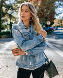 Billie Jean Distressed Pocketed Denim Jacket