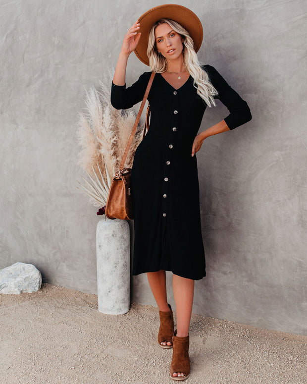 Billie Long Sleeve Ribbed Knit Midi Dress - Black