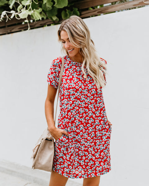 Birch Lane Floral Pocketed Shift Dress
