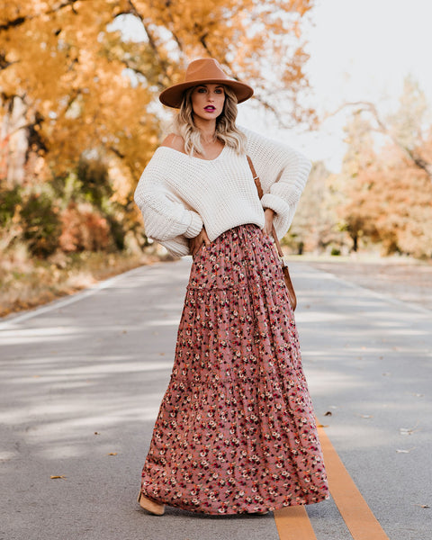 Birds Eye View Pocketed Tiered Floral Maxi Skirt