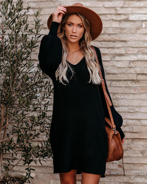 Blackbird Pocketed Sweater Dress - Black  - FINAL SALE