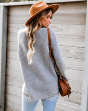 Black Diamond V-Neck Knit Sweater - Grey
