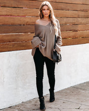 Black Diamond V-Neck Knit Sweater - Taupe