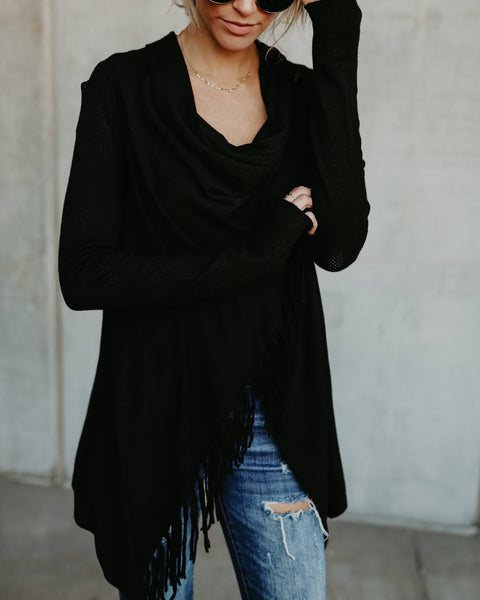 Superior Fringe Cardigan - Black